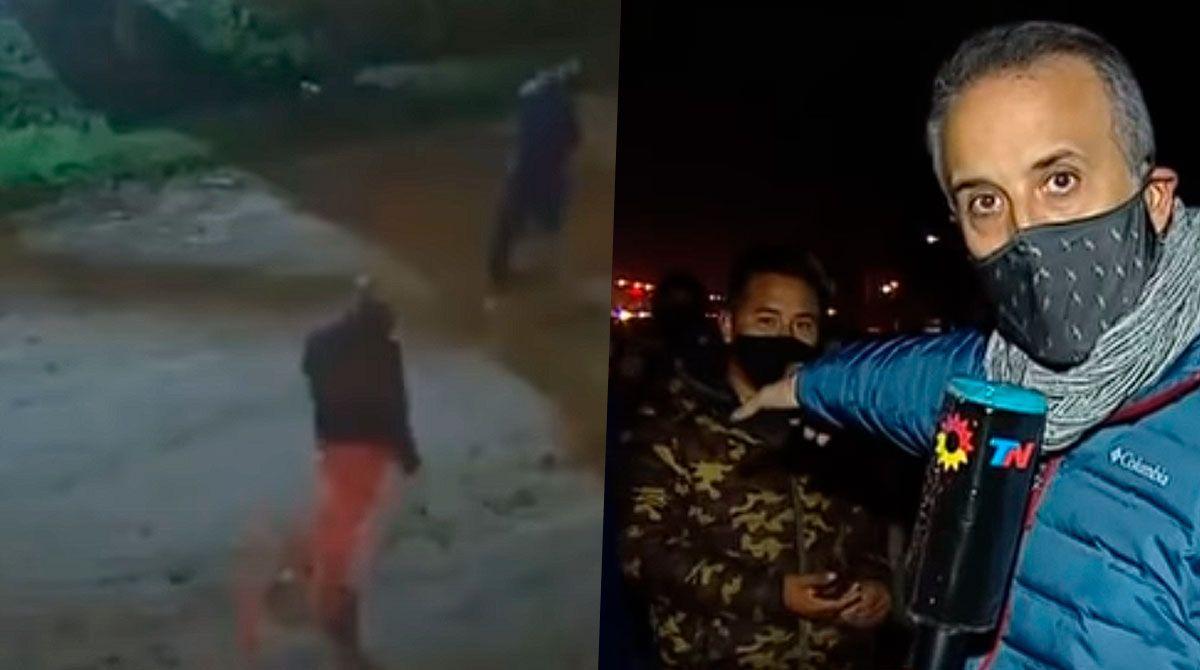El video de lo acontecido en Mariano Acosta: inesperado para el móvil de Telenoche.
