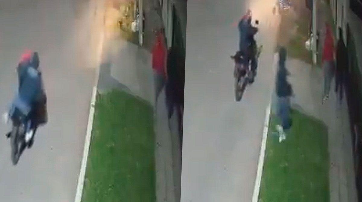 Un nuevo hecho de inseguridad en Merlo quedó registrado por una cámara de seguridad.