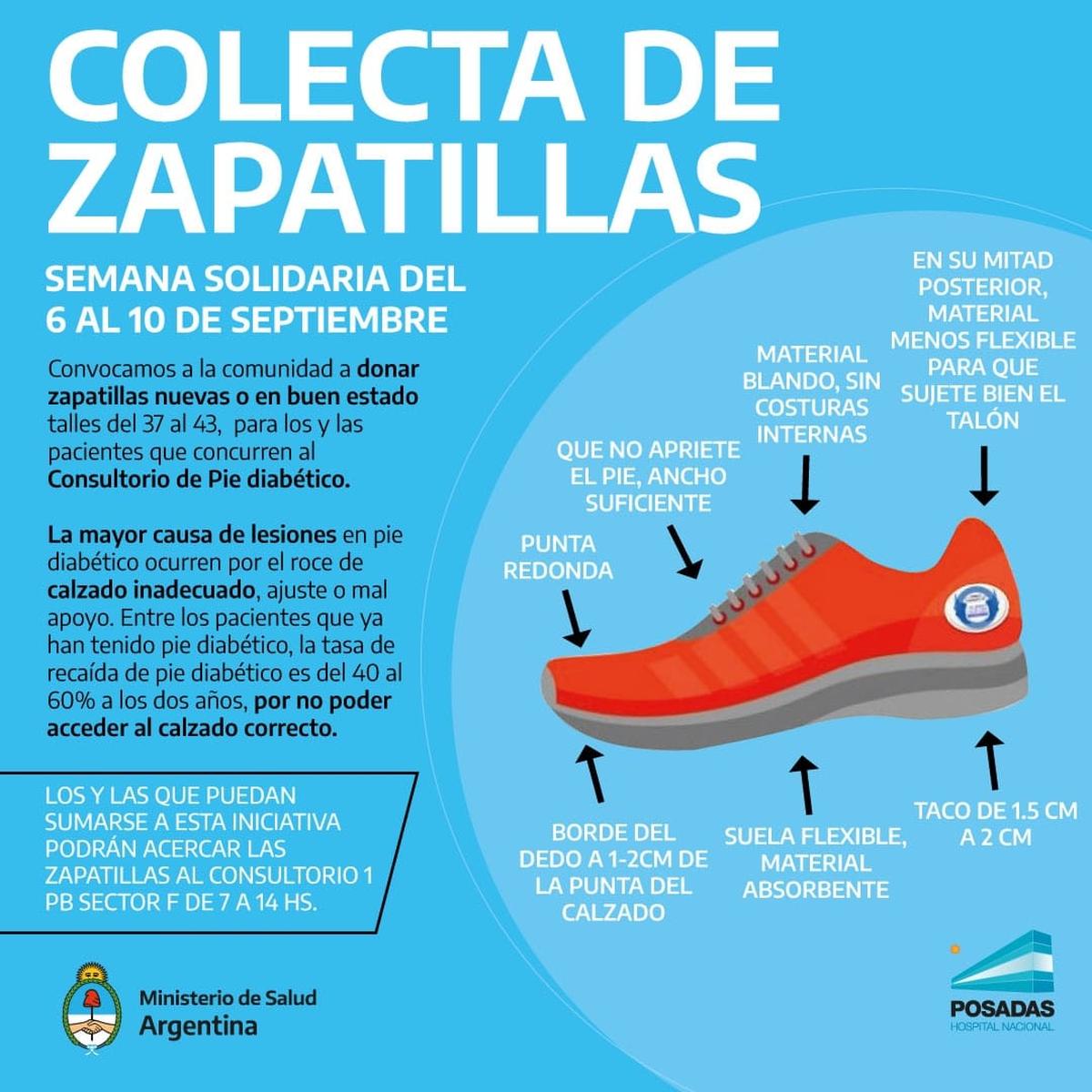 El Hospital Posadas se encuentra realizando esta semana una campaña solidaria para recolectar zapatillas para pacientes con pie diabético.